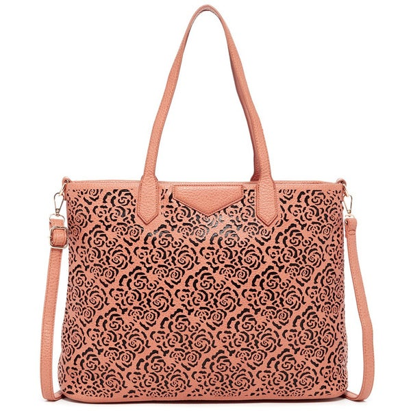 Pink Haley Rose Laser Cut Tote