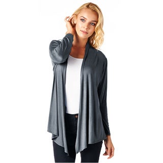 Popana Super-Soft Open Front Drape Cardigan -Darks