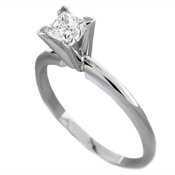 .50CT 14K Certified Princess Solitaire Engagement Ring