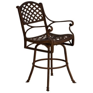 Antique Bronze Lattice Work Swivel Barstool with Heather Beige Sunbrella Cushion