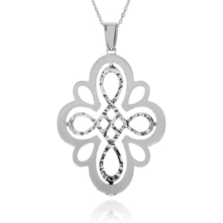 Journee Collection Sterling Silver Matte and Diamond-cut Double Layer Pendant