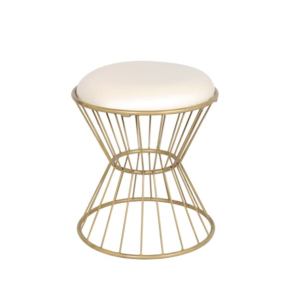 Off-white Faux Leather Wire Frame Stool