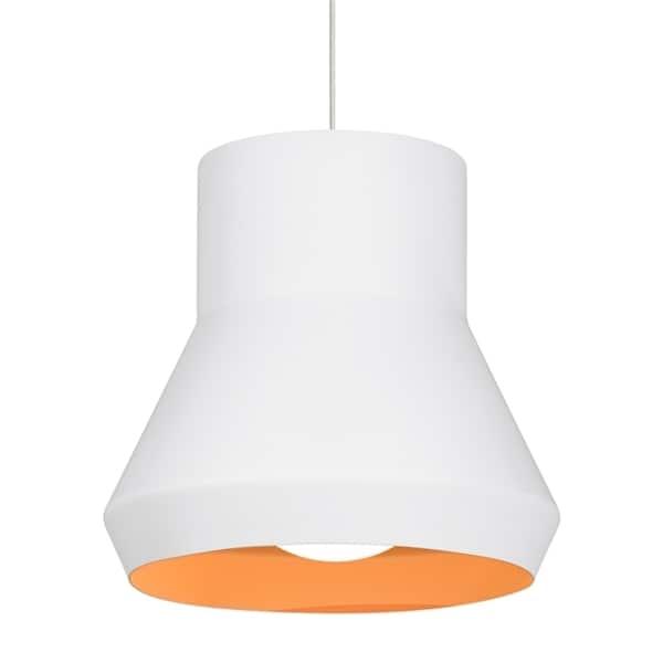 LBL Milo 1 light White Outside with Orange Inside Fluorescent Suspension