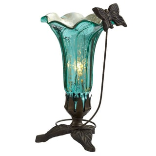 "9"" H Hand Blown Mercury Glass Butterfly Lily Lamp"