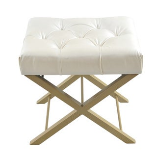Luxury Comfort Classic Creamy White Bonded Faux Leather Cross Stool