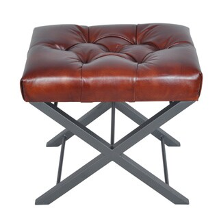 Artisan Brown Bonded Leather Cross Metal Stool