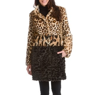 Nuage Women's Mixed Faux Fur Animal Pattern Coat