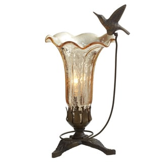 "9"" H Hand Blown Mercury Glass Hummingbird Lily Lamp"