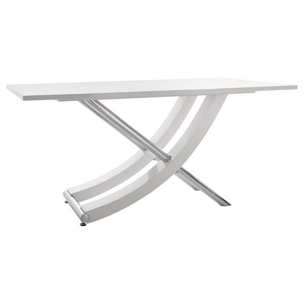 Kaleo High-gloss Chrome Cross-leg Dining Table