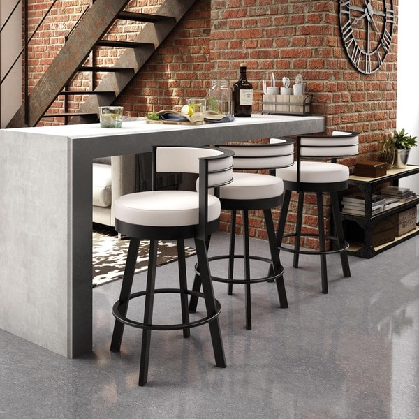 Amisco Browser 30 Inch Swivel Metal Barstool 17645976