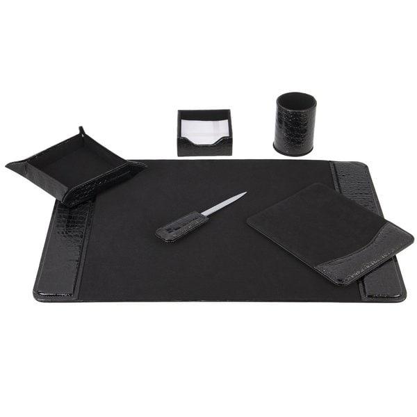 Stylish and Elegant 6-Piece Black Crocodile look Desk Set