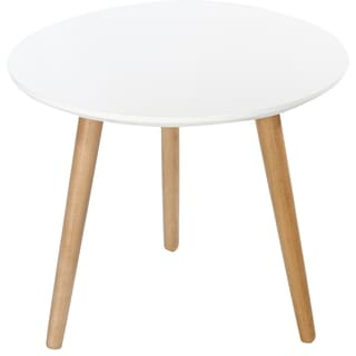 Kathy Ireland 20-inch White Top/ Natural Wooden Leg Accent Table