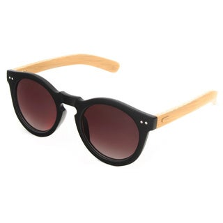 Hot Optix Women's Round Combo Plastic and Bamboo Sunglasses
