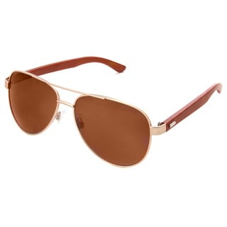 Hot Optix Fashion Men's Classic Aviator Metal and Bamboo Sunglasses