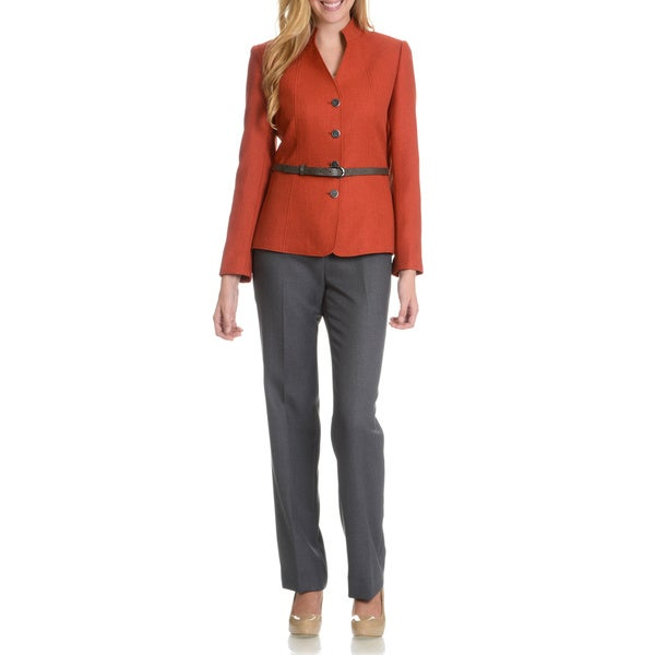 Tahari Arthur S. Levine Women's Collarless Snakeskin Belt Pant Suit