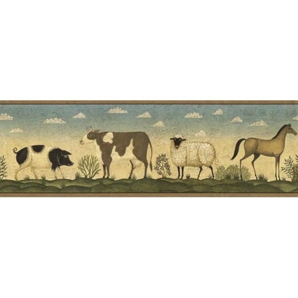 Brown Farm Friends Wallpaper Border