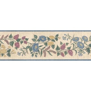 Blue Summer Garland Wallpaper Border