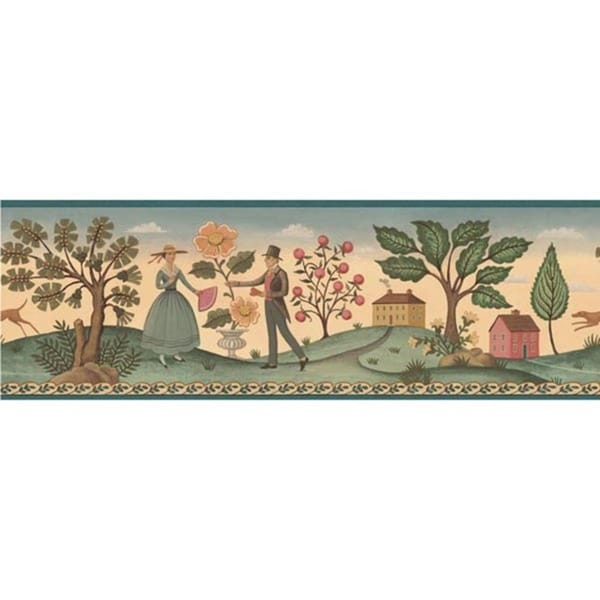 Blue Hopewell County Wallpaper Border