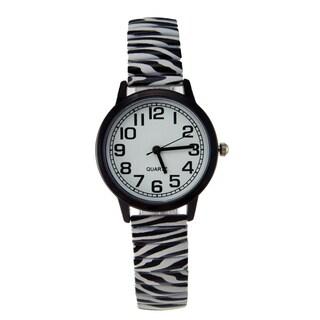 Women's Zebra Animal Print Stretch Band Watch Black Case White Dial Black Arabic Numberals