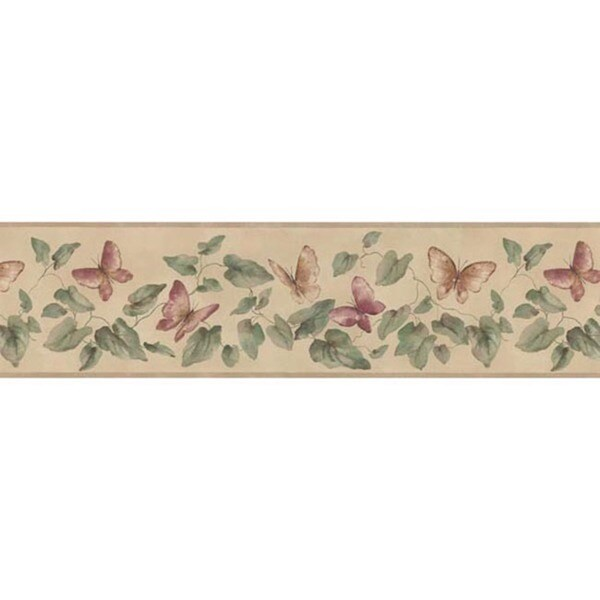 Rose Butterfly Vine Wallpaper Border
