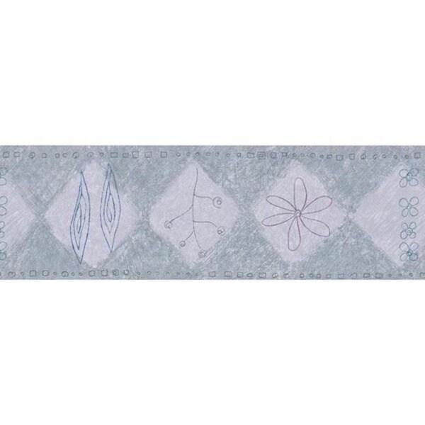 Grey Diamond Floral Wallpaper Border