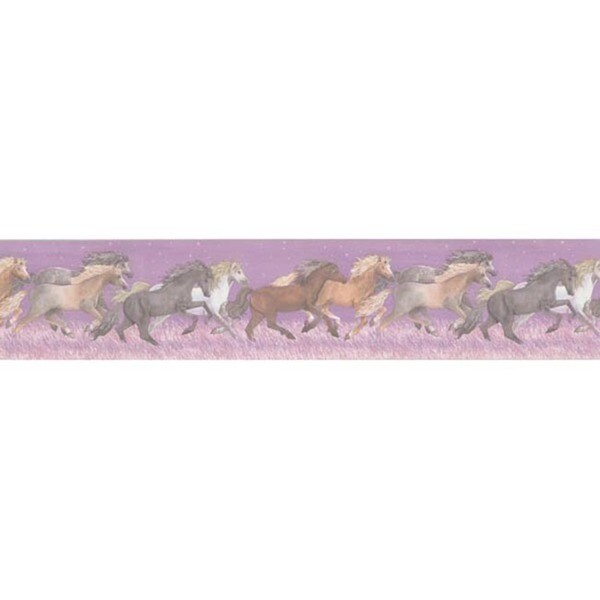 Purple Wild Horses Wallpaper Border