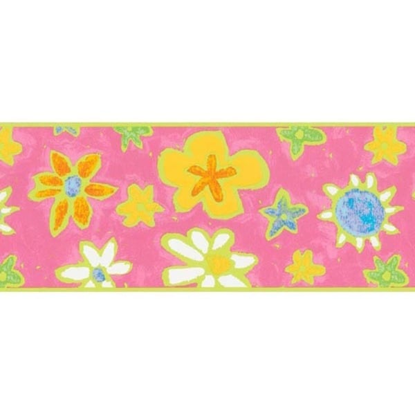 Pink Groovy Floral Wallpaper Border