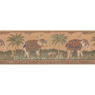 Chestnut Elephant Wallpaper Border