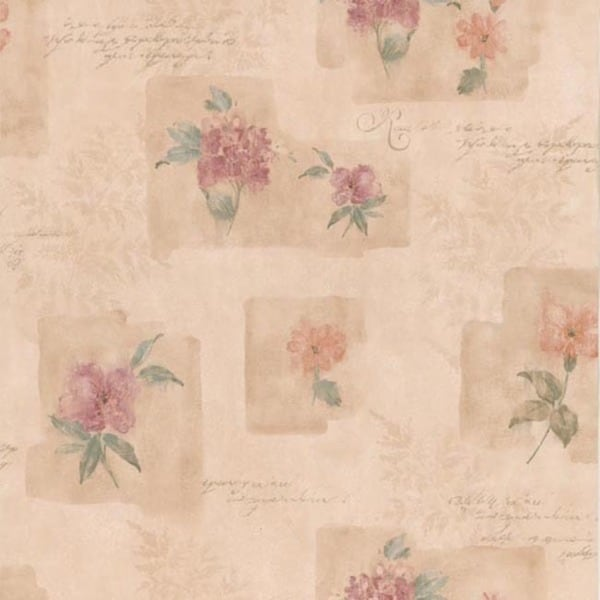 Pink Block Print Floral Wallpaper