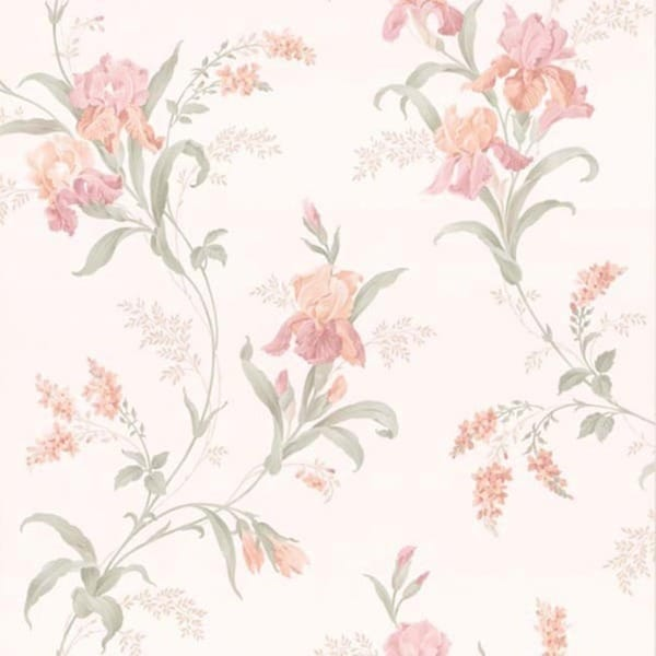 Peach Floral Trail Wallpaper