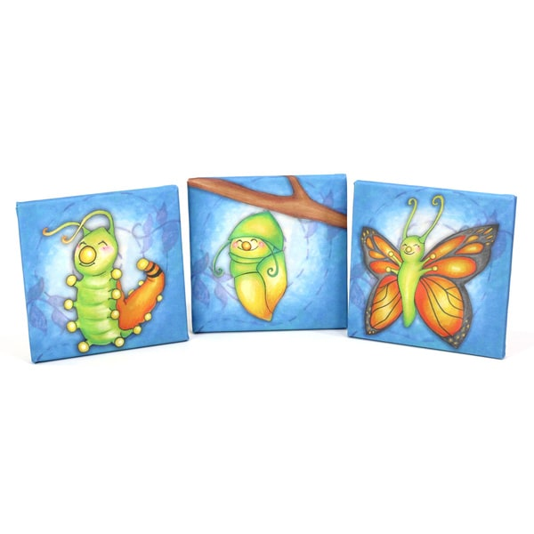 Growing Kids Caterpillar to Butterfly Canvas Wall Art - Triple Print Set