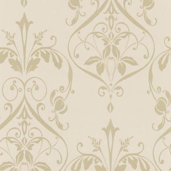 Beige Nouveau Damask Wallpaper