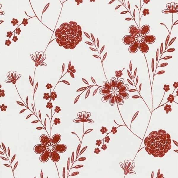Red Floral Silhouette Wallpaper