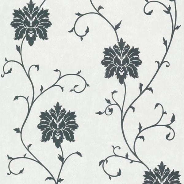 Black Floral Scroll Wallpaper