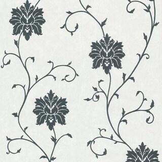 Black Floral Scroll Wallpaper