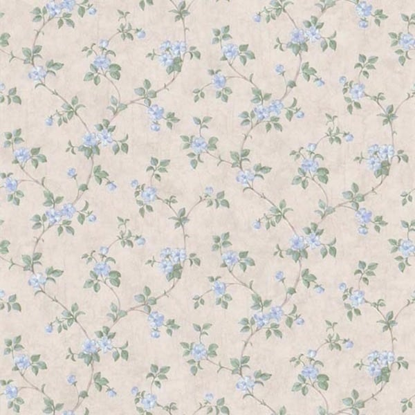 Blue Floral Trail Wallpaper