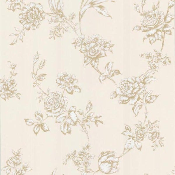 Pale Yellow Floral Trail Wallpaper