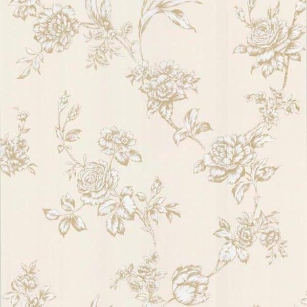 Pale Yellow Floral Trail Wallpaper