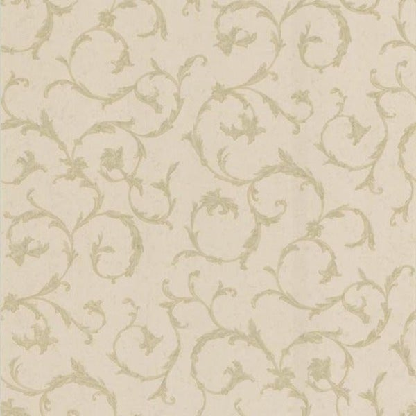 Beige Satin Scroll Wallpaper