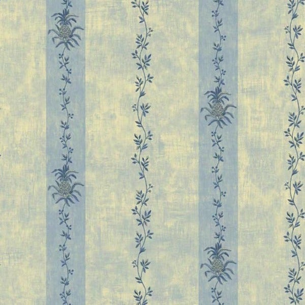 Blue Floral Stripe Wallpaper