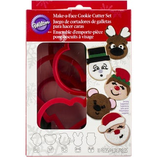 Plastic Cookie Cutter Set 10/PkgChristmas Faces