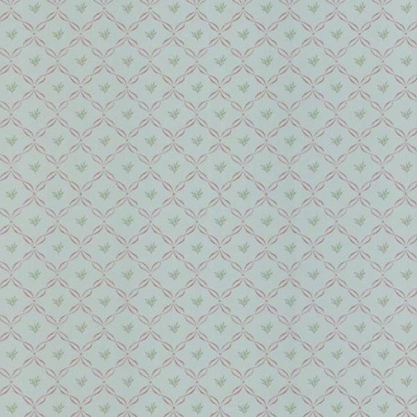 Light Blue Ribbon Trellis Wallpaper