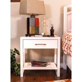 Somette Estelle Pure White 1-drawer Nightstand