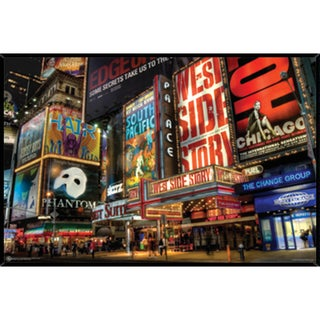 Times Square Theater District Poster (36-inch x 24-inch) on Plaque or Woodmount