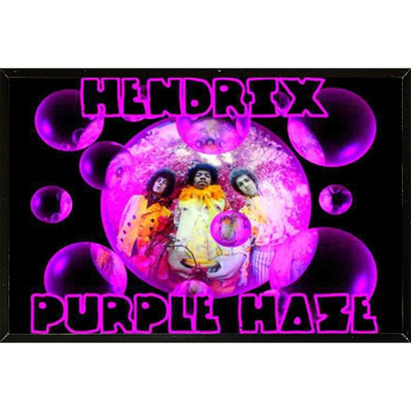 Jimi Hendrix Purple Haze Poster (24-inch x 36-inch) with Contemporary Poster Frame