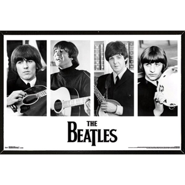 The Beatles Portraits Poster (34-inch x 22-inch) on Plaque or Woodmount