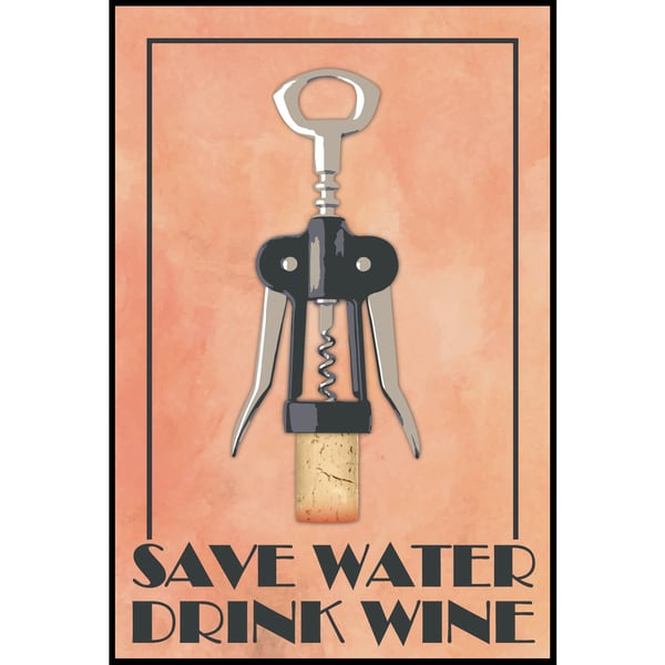 Save Water Drink Wine (12-inch x 18-inch) on Woodmount