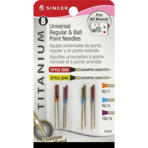Titanium Universal Regular & Ball Point Machine NeedlesSizes 11/80 (2), 14/90 (4) & 16/100 (2)