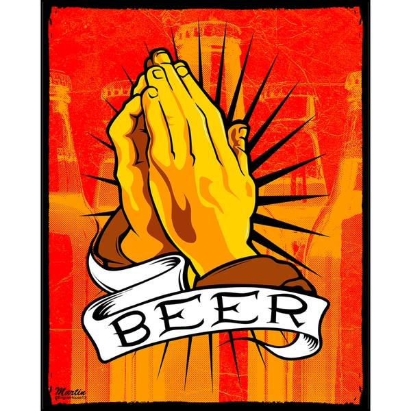 Pray for Beer (16-inch x 20-inch) on Woodmount