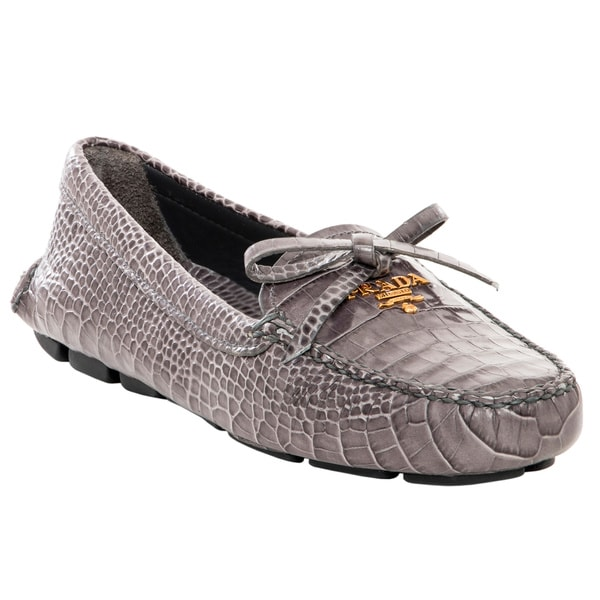 Prada Grey Croc Embossed Leather Loafers